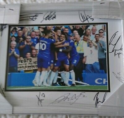 Chelsea FC multi signed by 11 framed picture with coa.