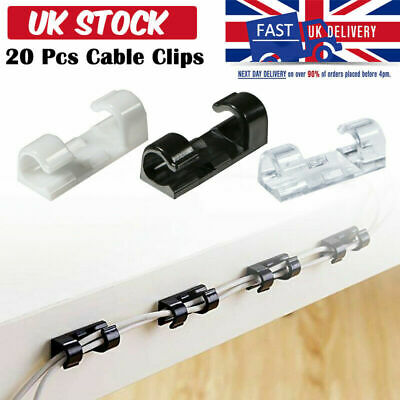20Pcs Self Adhesive Wire Cable Clamp plastic Table Car Wire Clips Tidy Organizer