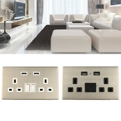 Double Wall Socket 2 Gang with 2 USB Charger Port White Outlet Plug Surround 13A