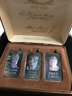 CHAMPIONS OF LIBERTY 1 Troy oz (EACH) 999 SILVER BAR SET LINCOLN, KENNEDY & KING