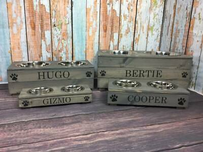 Raised Dog Cat Bowls In Grey Can Be Personalised Available In 4 Sizes