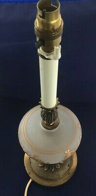 """Large Brass Effect glass vintage table lamp, not PAT tested  Approx 22"""" (S)"""