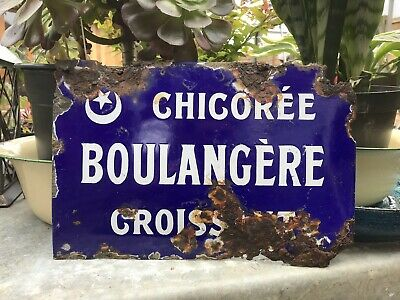 Genuine Antique FRENCH ENAMEL SIGN Boulangère-Bakery-Boulangerie-vintage Kitchen