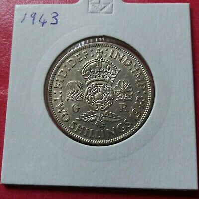 George VI. silver FLORIN/ TWO SHILLINGS 1943. Excellent
