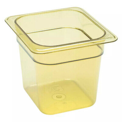 "Cambro 66HP150 H-Pan 6"" Deep Amber High Heat Hot Food Pan 1/6 Size (6 per case)"