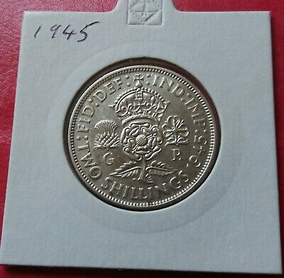 1945 George VI sterling silver florin two shilling coin -