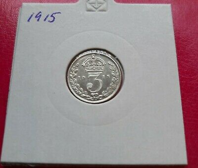 1915 Sterling Silver Three Pence - George V