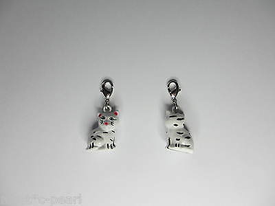 NEW 3D Clip on Pretty White Kitty Cat Bell Charm Jewellery for Pet Cat Collar