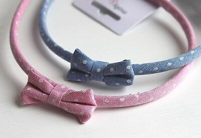 2 x Girls Polka Dot Hair Bands Headbands Alice Bands * Pink & Blue with Bows