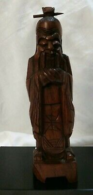 """Vintage Hand Carved Chinese Man Wood Figurine Asian 8"""" Tall"""
