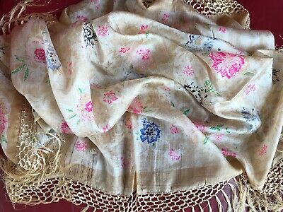 Vintage Hand Woven Silk Shawl with Fringe