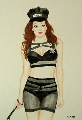 "ORIGINAL WATERCOLOR DRAWINGS PIN-UP GIRL 10"" x 13"" inch LATEX WOMAN FINE ART"