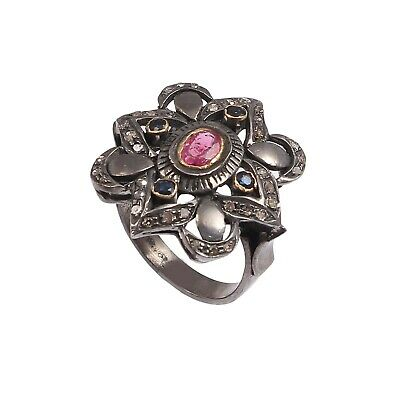 925 Sterling Silver Rose cut Diamond Victorian Blue Sapphire Red Ruby Ring R-731