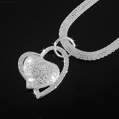 03BC 925 Sterling Silver Double Heart Pendant Chunky Necklace Chain Women