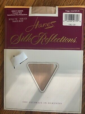 Hanes Silk Reflections Control Top Sheer Toe Sheer Tights #0B171 New