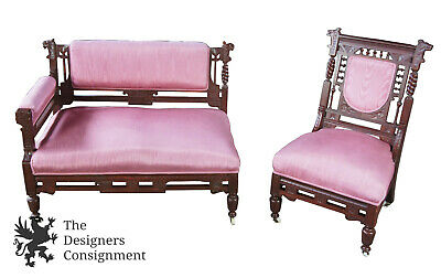 Antique Eastlake Aesthetic German Walnut Figural Bustle Bench & Chair Settee