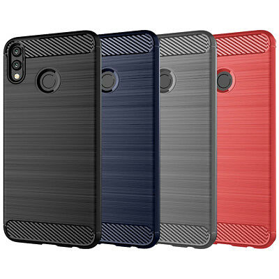 DD For Huawei Honor 8X & 8X Max Case Carbon Fibre TPU Rugged Gel Silicone Cover