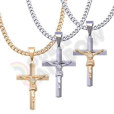 Men Stainless Steel Necklace Cross Jesus Crucifix Gold Silver Cuban Chain#P06