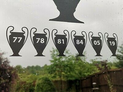 Liverpool FC, LFC, Champions of Europe 6 times. Vinyl decals
