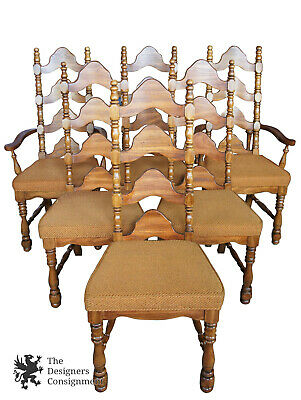 6 French Country High Ladder Back Dining Chairs 1970s  Beige Seat Sears Roebuck