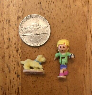 1995 Vintage Lot Polly Pocket Loves Puppy - Bluebird Toys Dog And Polly Only