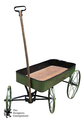 Early 1900s Primitive Antique Green Painted Childs Wagon Tin & Wood Steel Wheels