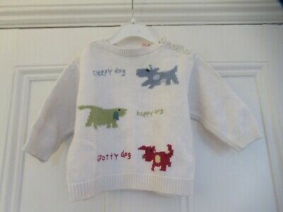6-12m: Baby Gap ivory cotton jumper: Cute colourful dogs: Good condition