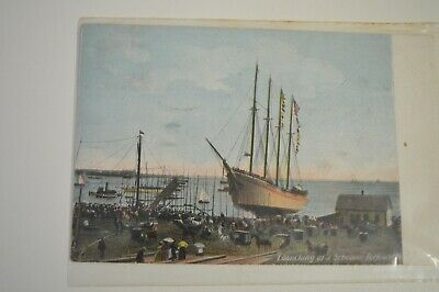 1908 Color Postcard - Launching of a Schooner Rockland Massachusetts