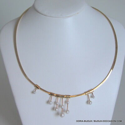 Collier Or 18k 750/000 Omega Et Perles 19.3grs - Bijoux occasion