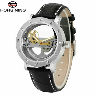 FORSINING Luxury Hollow Skeleton Automatic Watch Mechanical Men  Leather Band