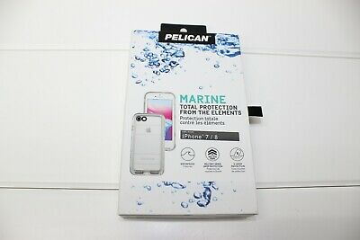 Pelican Marine Waterproof Case for iPhone 8/7 Case, White/Clear
