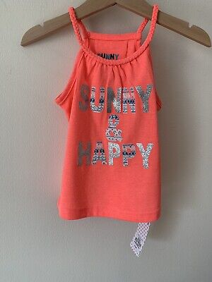 Girls 1.5-2 Years Orange Vest Top New With Tags Sunny And Happy 18-24 Months