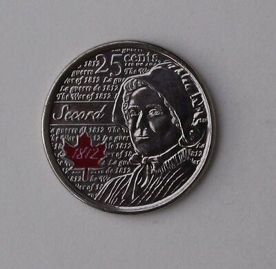 2013 Canada Quarter, Secord, War of 1812, Red Coloured (Colored) 25 cents UNC