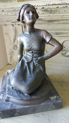 Sublime Antique French Signed Bronze painted Spelter Statue of a Seated Woman