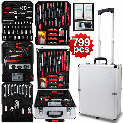 799 pcs Tool Set Standard Metric Mechanics Kit with Trolley Case Box