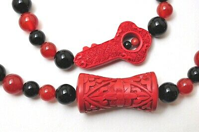 Chinese Red Carved Cinnabar Necklace Graduated Red Black Round Beads