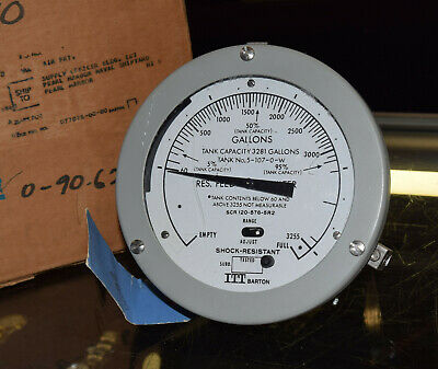 Itt Barton Tank Capacity Differential Pressure Gauge 316-8971 Swp 1000 Military