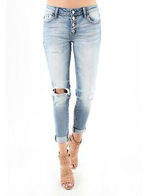 b959f357a9295 KAN CAN Jeans Mid Rise Ankle Skinny Distressed Button Fly 27-30 KC5118D