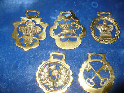 ​Lot of 5 Antique & Vintage Brass Horse Harness Bridle Medallions  Estate Items