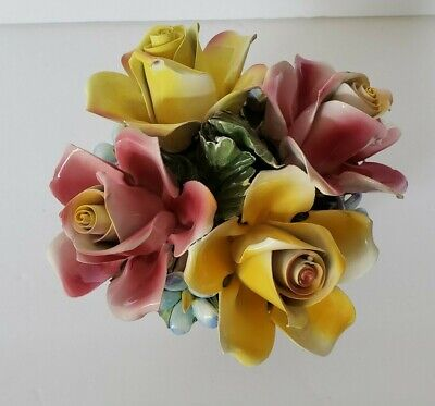 Capodimonte Porcelain Centerpiece Rose Flower Bouquet Pink yellow Italy 7""