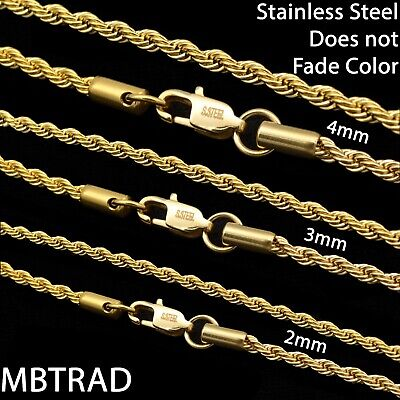 18K Gold Plated Stainless Steel Rope Chain Necklace Men Women 2-4mm Never Fades