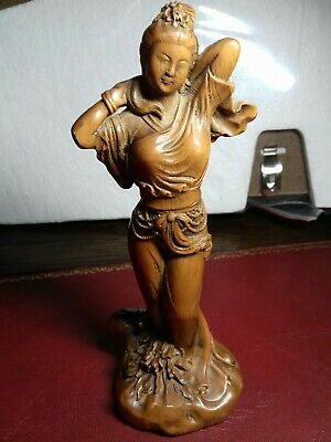 Antique Chinese Boxwood Hand Carved Beautiful girl Statue Figure Netsuke