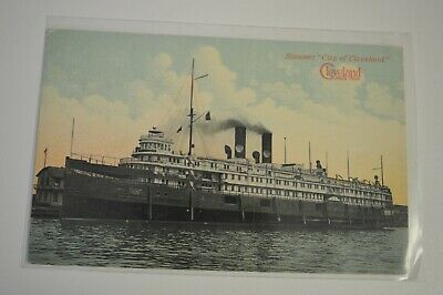 "Vintage Color Postcard - Steamer ""City of Cleveland"" Cleveland Sixth City"