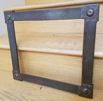 Antique Arts & Crafts Hammered Copper Frame Stickley Liberty Era English Riveted