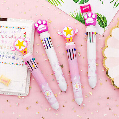 Students 10Color ink in 1 Pen Kids Ballpoint Pen Star wings Multi Colored