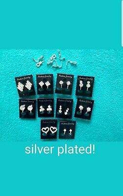 Joblot 10Pairs UKHandmade Of CLIP ON Crystal Diamante Earrings .silver Plated