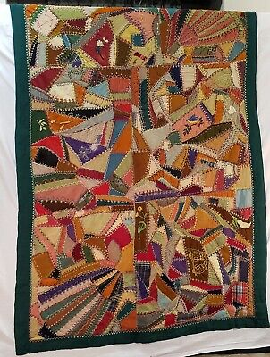 Crazy Quilt - 1930's Vintage Hand Stitched & Accented Designed For Wall Hanging