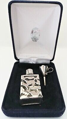 hallmarked silver topped perfume bottle, with silver overlay, + h'marked funnel