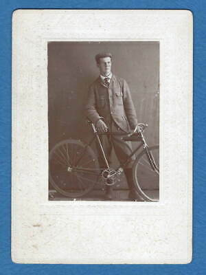 Antique Vintage Cabinet Card Photo Handsome Young Man With Bicycle