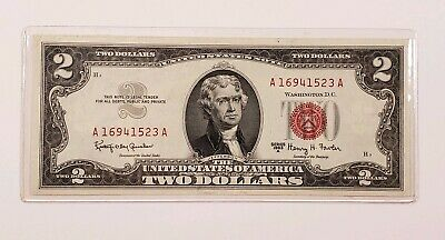 Vintage 1963 A $2 TWO DOLLAR BILL RED SEAL UNC US Paper Money Currency